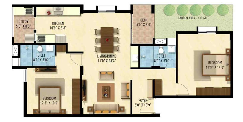 nakshatra upscale celestia apartment 2bhk 1275sqft1