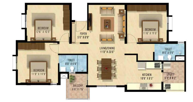 nakshatra upscale celestia apartment 3bhk 1400sqft1