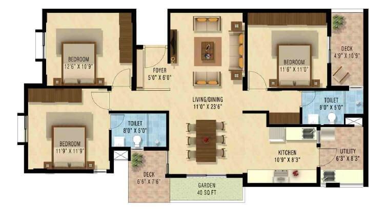 nakshatra upscale celestia apartment 3bhk 1480sqft1