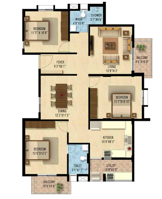 nakshatra upscale celestia apartment 3bhk 1545sqft1