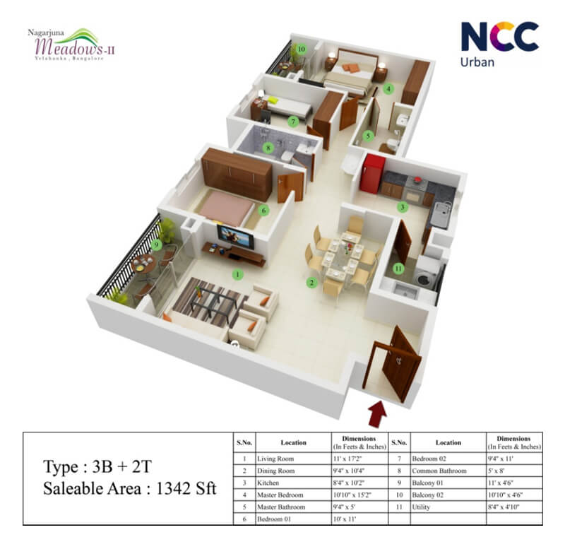 ncc nagarjuna meadows apartment 3bhk 1342sqft1