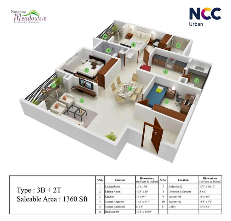 ncc nagarjuna meadows apartment 3bhk 1360sqft1