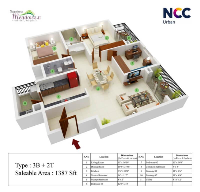 ncc nagarjuna meadows apartment 3bhk 1387sqft1