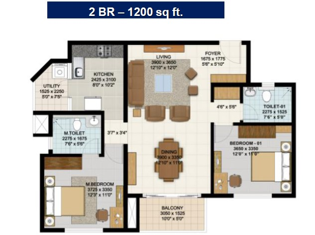 2 Bhk Floor Plan 1200 Sq Ft Home Plan