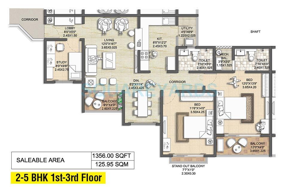 nitesh melbourne park apartment 2bhk 1394sqft1