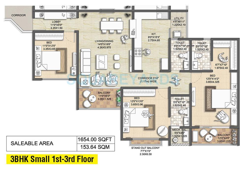nitesh melbourne park apartment 3bhk 1738sqft1