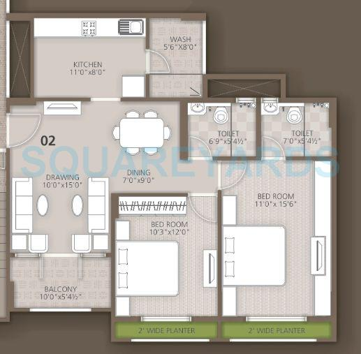 orchid woods apartment 2bhk 1159sqft1