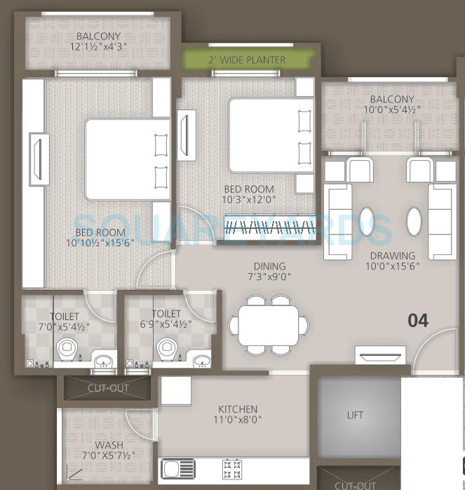 orchid woods apartment 2bhk 1194sqft1