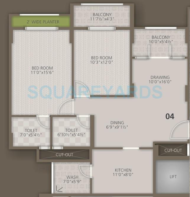 orchid woods apartment 2bhk 1197sqft1