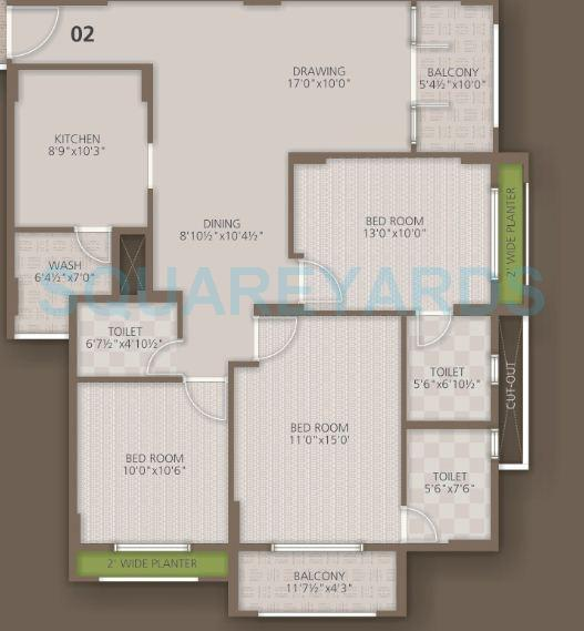 orchid woods apartment 3bhk 1418sqft1