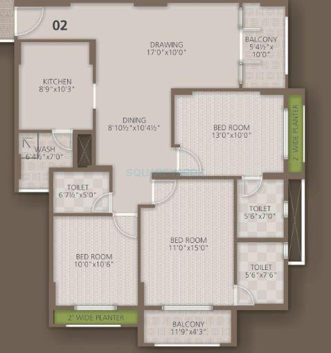 orchid woods apartment 3bhk 1505sqft1