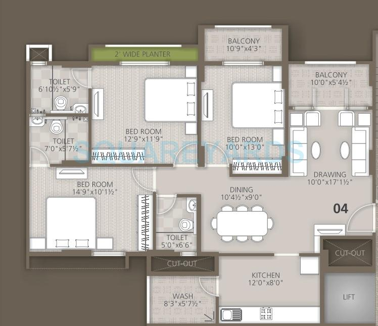 orchid woods apartment 3bhk 1518sqft1