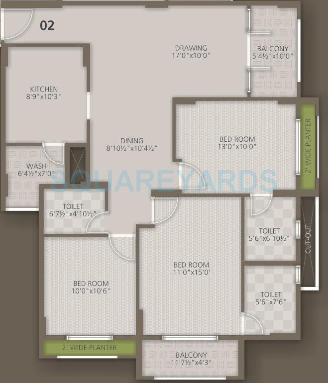 orchid woods apartment 3bhk 1534sqft1