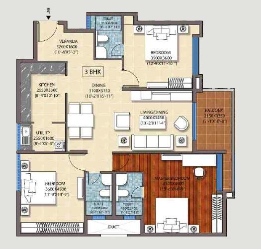 ozone promenade apartment 3bhk 1825sqft 1
