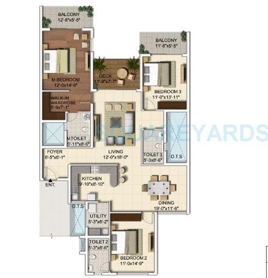 ozone urbana alcove apartment 3 bhk 1927sqft 20204317104340