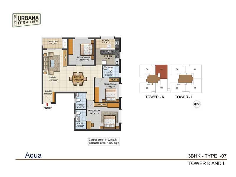 ozone urbana aqua 2 apartment 3bhk 1529sqft 1