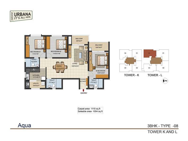 ozone urbana aqua 2 apartment 3bhk 1554sqft 1