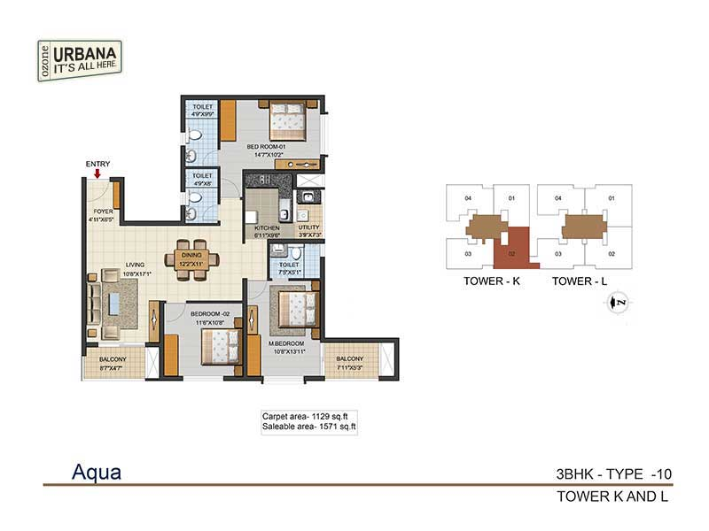 ozone urbana aqua 2 apartment 3bhk 1571sqft 1