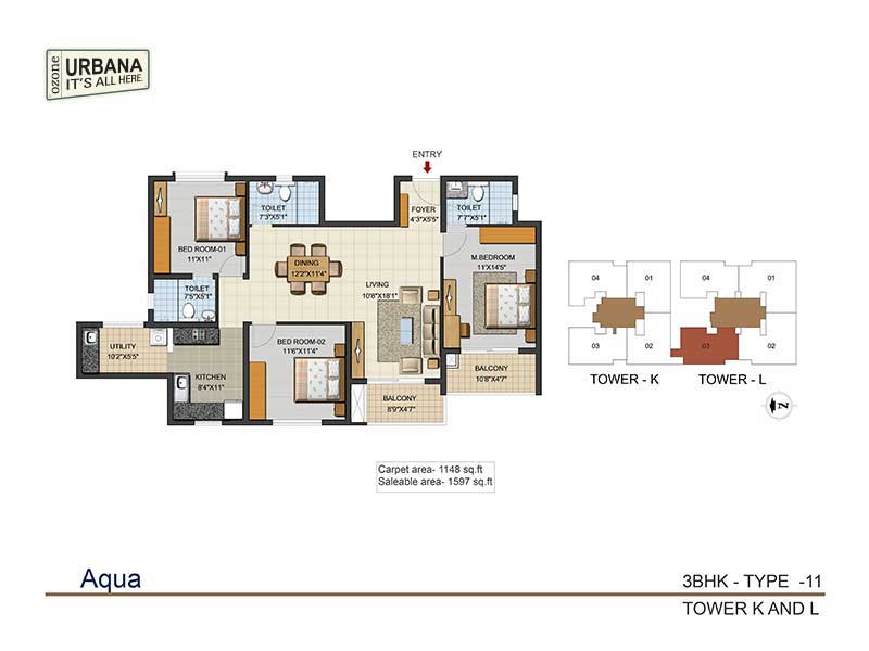ozone urbana aqua 2 apartment 3bhk 1597sqft 1
