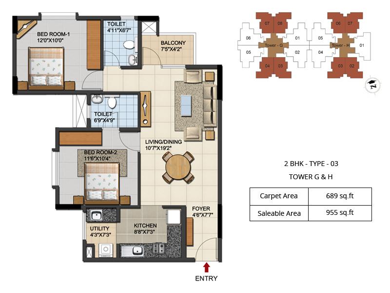 ozone urbana aqua apartment 2bhk 955sqft 1