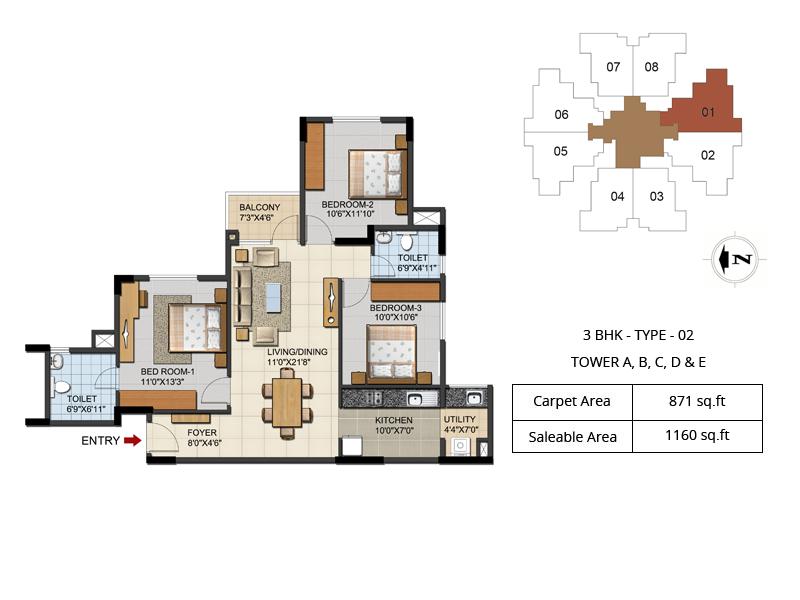ozone urbana aqua apartment 3bhk 1160sqft 1