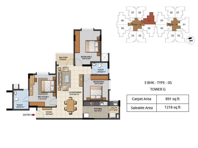 ozone urbana aqua apartment 3bhk 1218sqft 211