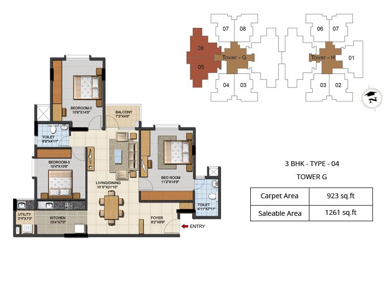 ozone urbana aqua apartment 3bhk 1261sqft 1