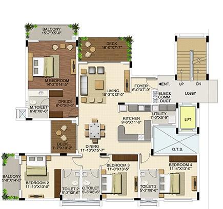 ozone urbana aura apartment 4bhk 1658sqft21