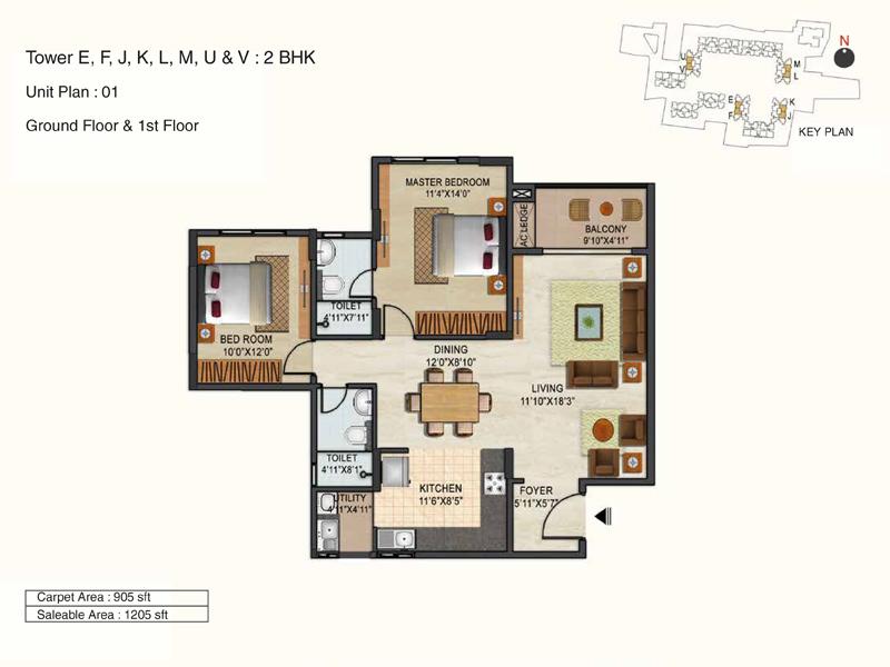 ozone urbana avenue apartment 2bhk 1205sqft 1