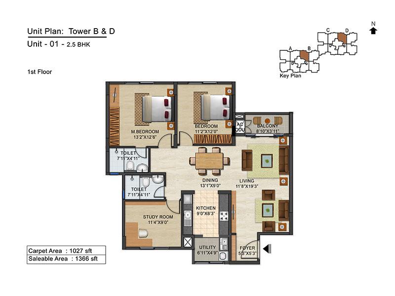 ozone urbana avenue apartment 2bhk 1366sqft 1