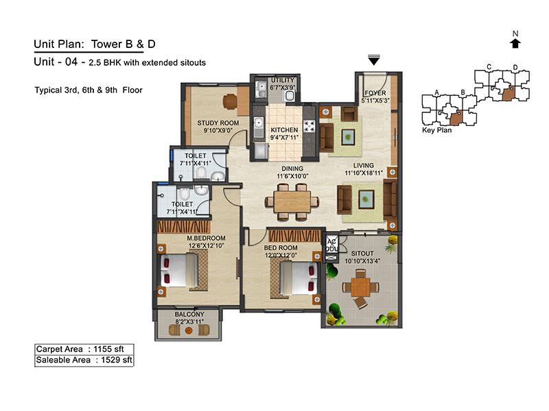 ozone urbana avenue apartment 2bhk 1529sqft 1