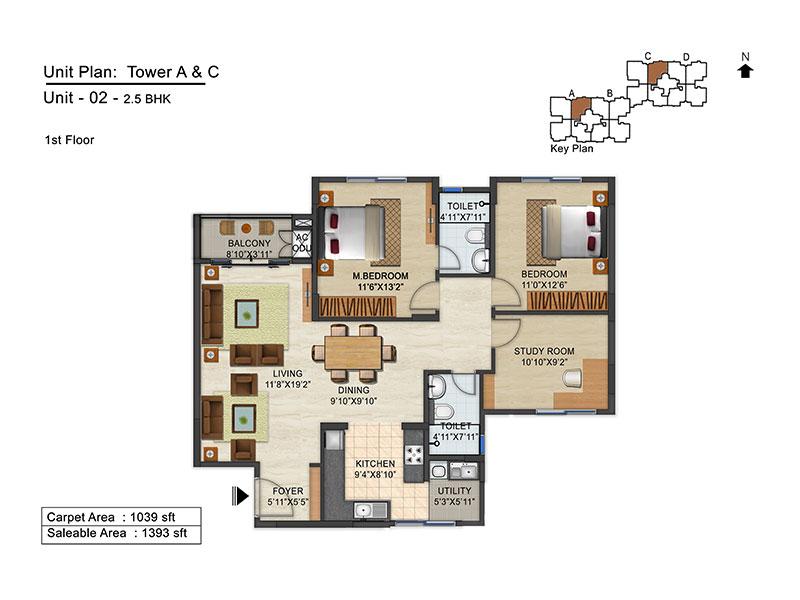 ozone urbana avenue apartment 2bhk st 1393sqft 1
