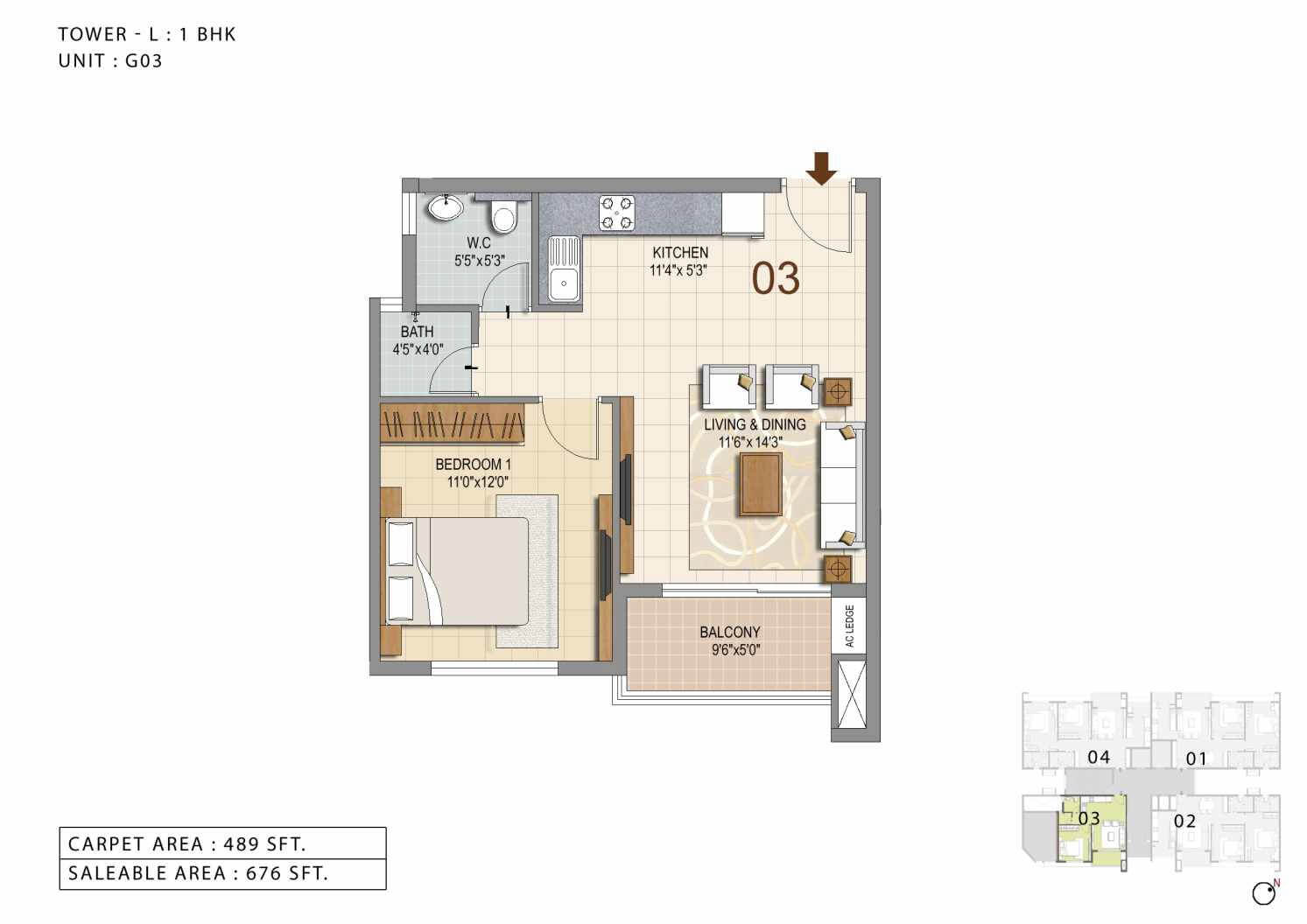 ozone urbana heights apartment 1bhk 676sqft 1