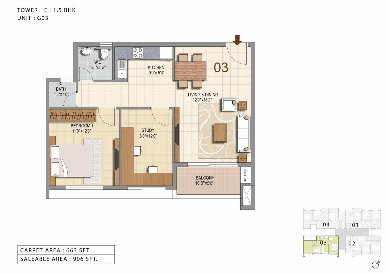 ozone urbana heights apartment 1bhk st 906sqft 1