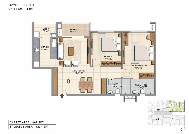 ozone urbana heights apartment 2bhk 1234sqft 1