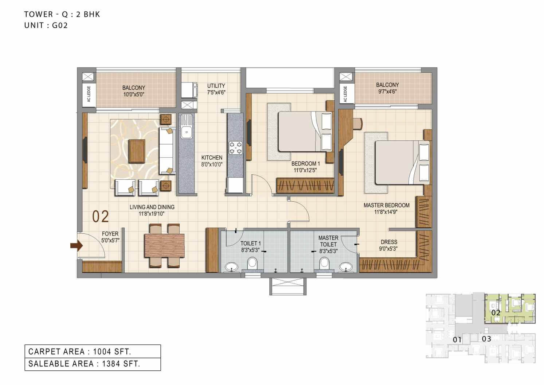 ozone urbana heights apartment 2bhk 1384sqft 1