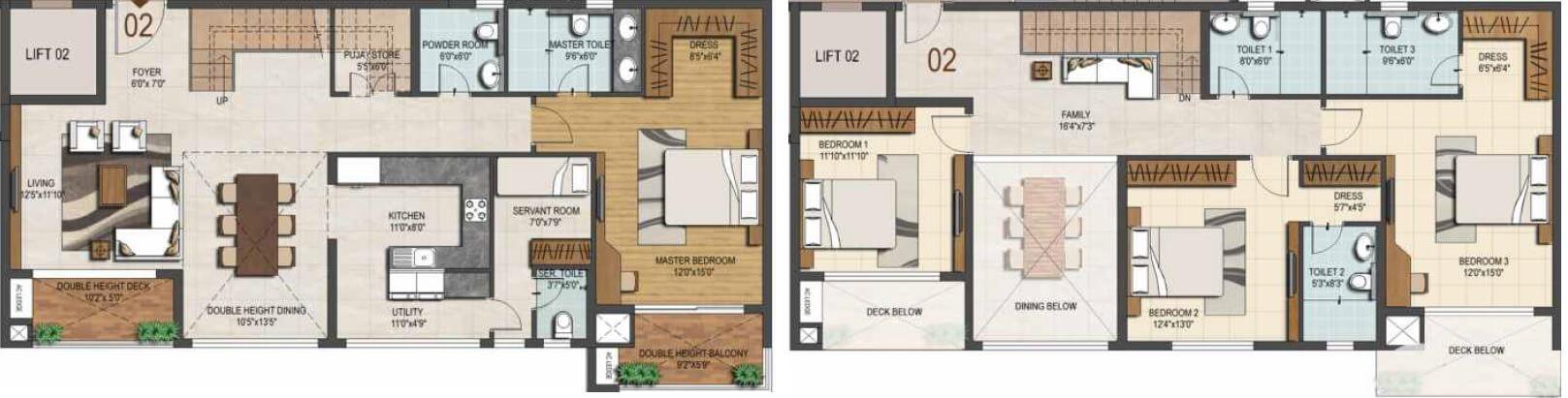 ozone urbana heights apartment 4bhk sq 3080sqft 1
