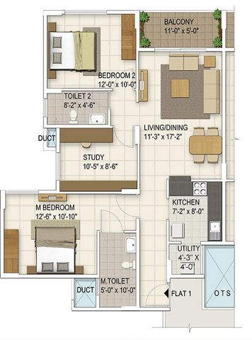 ozone urbana irene apartment 2bhk st 1195sqft 1