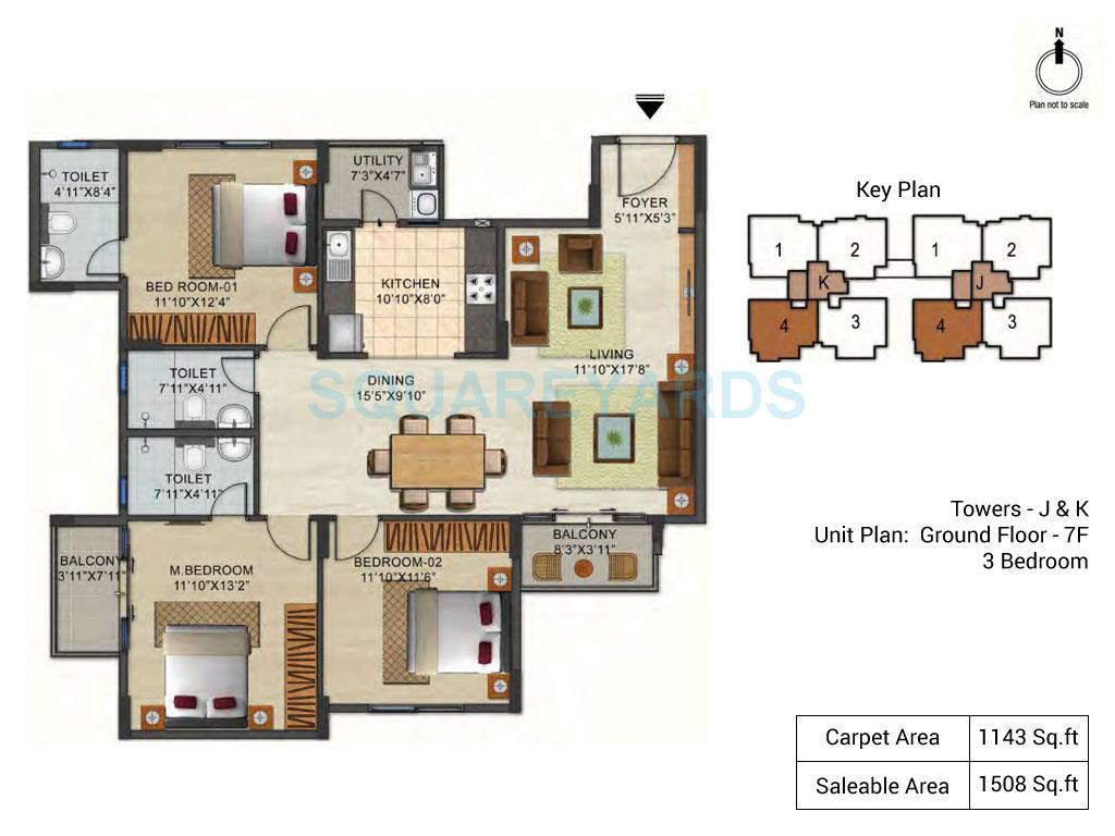ozone urbana pavilion apartment 3bhk 1508sqft1