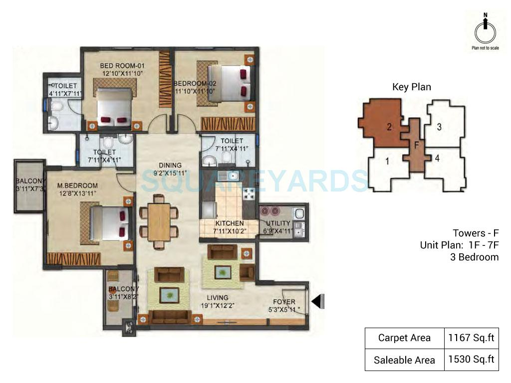 ozone urbana pavilion apartment 3bhk 1530sqft1