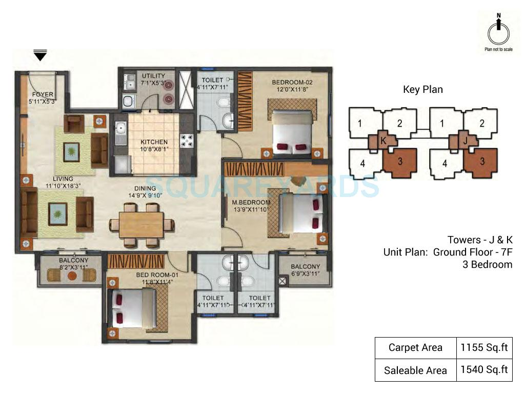 ozone urbana pavilion apartment 3bhk 1540sqft1