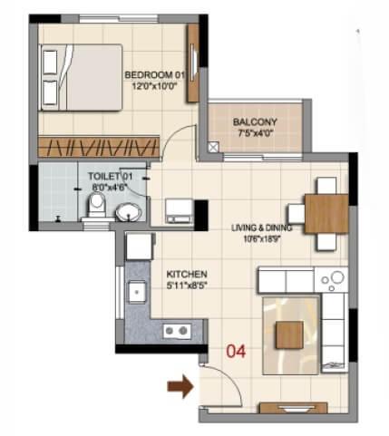 ozone urbana prime apartment 1bhk 429sqft 1