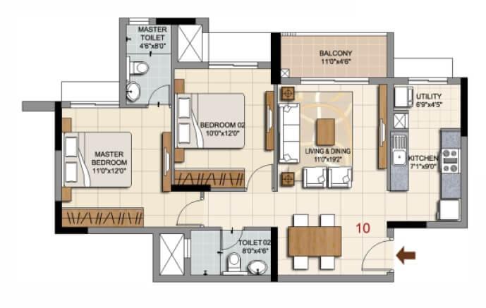 ozone urbana prime apartment 2bhk 689sqft 1