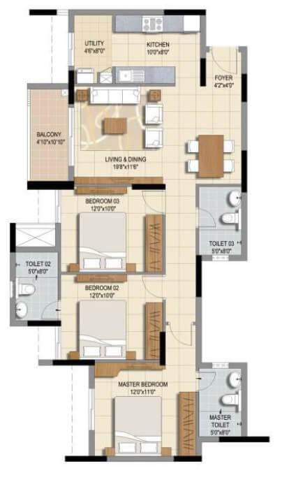 ozone urbana prime apartment 3bhk 963sqft 1