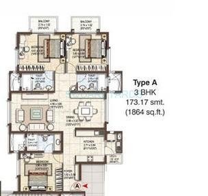 pashmina waterfront apartment 3bhk 1857sqft1