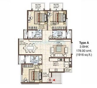 pashmina waterfront apartment 3bhk 1916sqft1