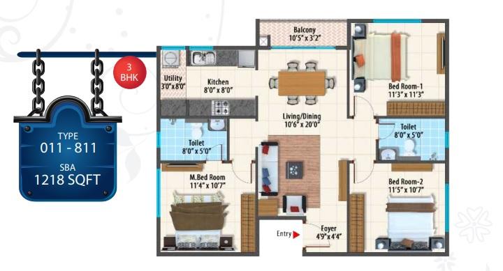 peninsula paramount apartment 3bhk 1218sqft 1