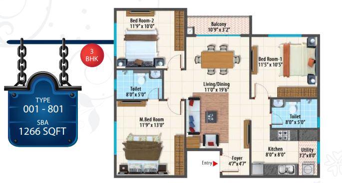peninsula paramount apartment 3bhk 1266sqft 1