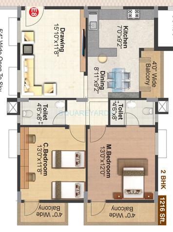 pranava gitaaar apartment 2bhk 1216sqft 1