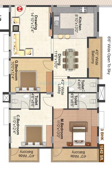 pranava gitaaar apartment 3bhk 1539sqft1